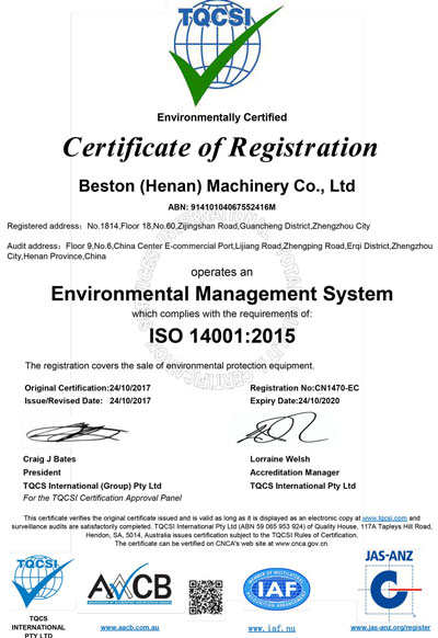 ISO 14001 of Beston Machinery