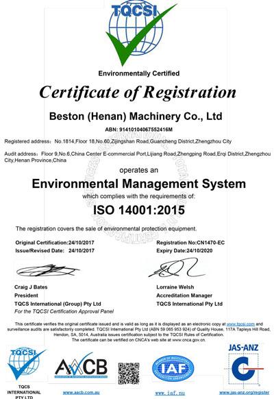 ISO 14001 de Beston Machinery