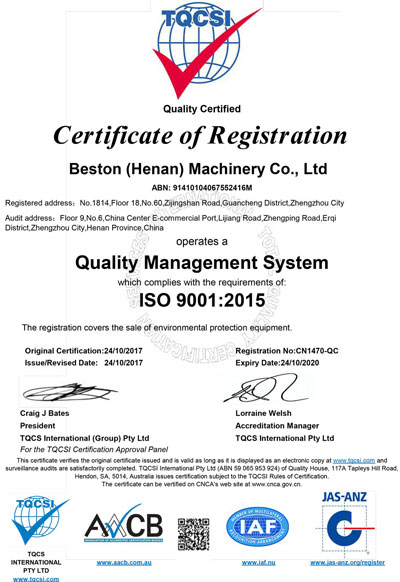 ISO 9001 of Beston Machinery