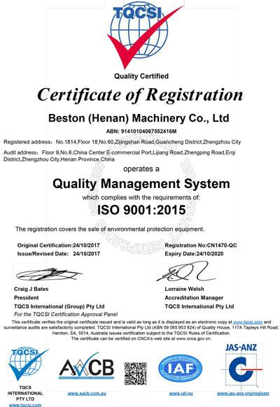 ISO 9001 de Beston Machinery