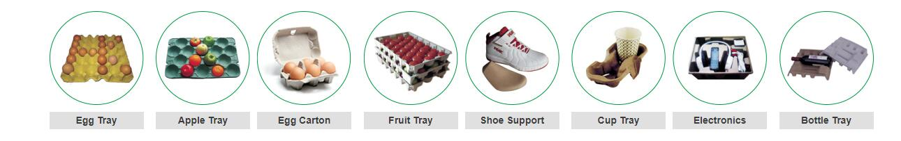 Various End Products Of Egg Tray Making Machine