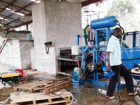 BTF-1-4 Máquina para fabricar bandejas de huevos instalada en Uganda