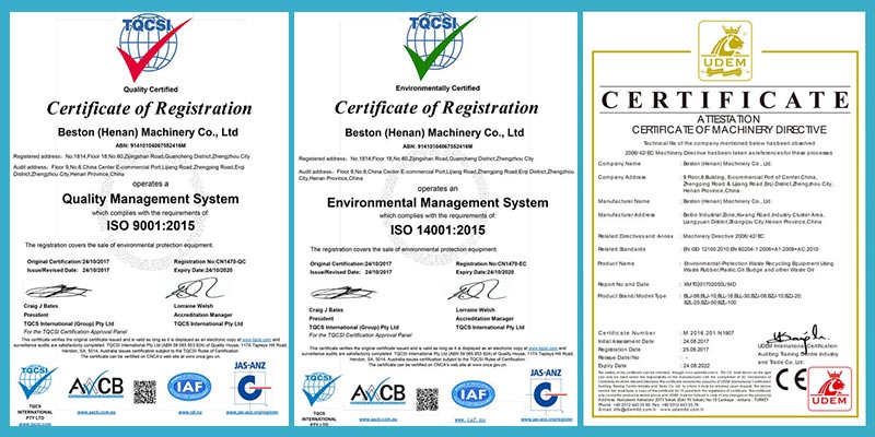 CE, ISO Certificates of Beston