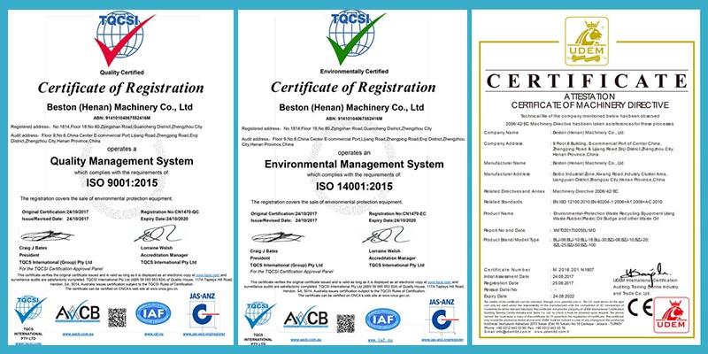 Certificados CE, ISO de Beston