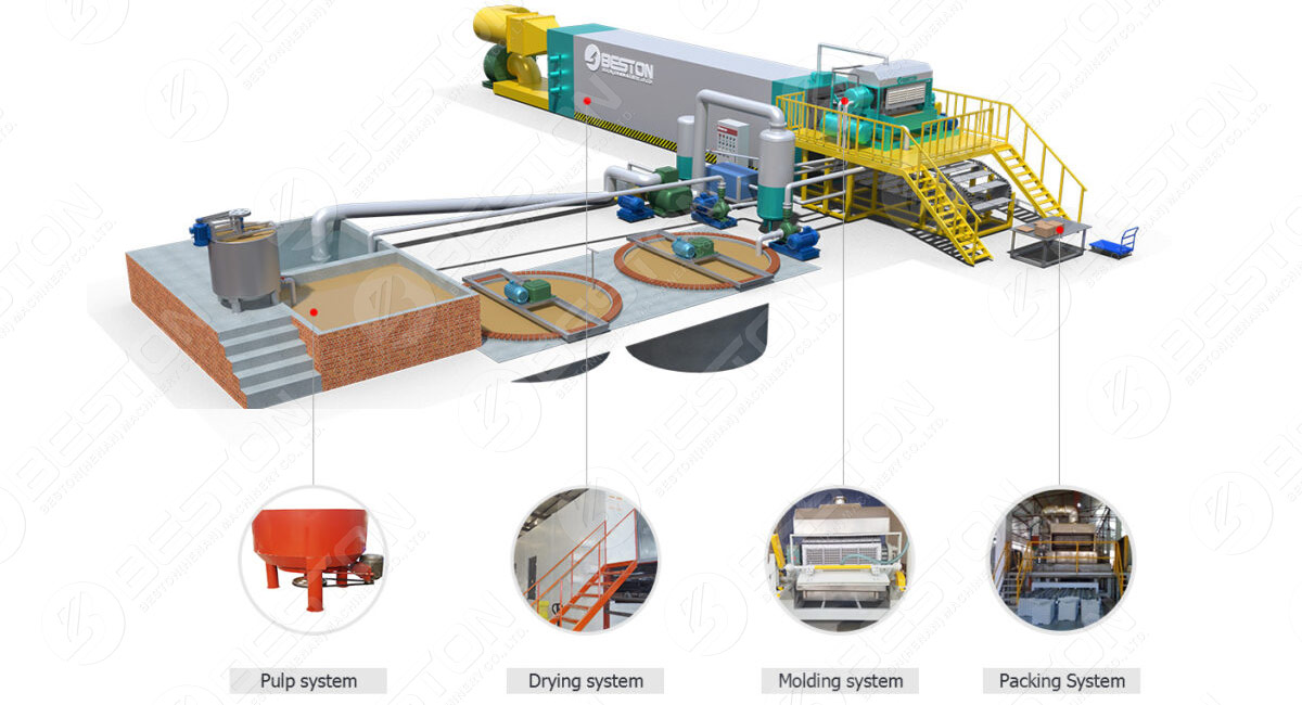 3D Layout of Egg Tray Machinery