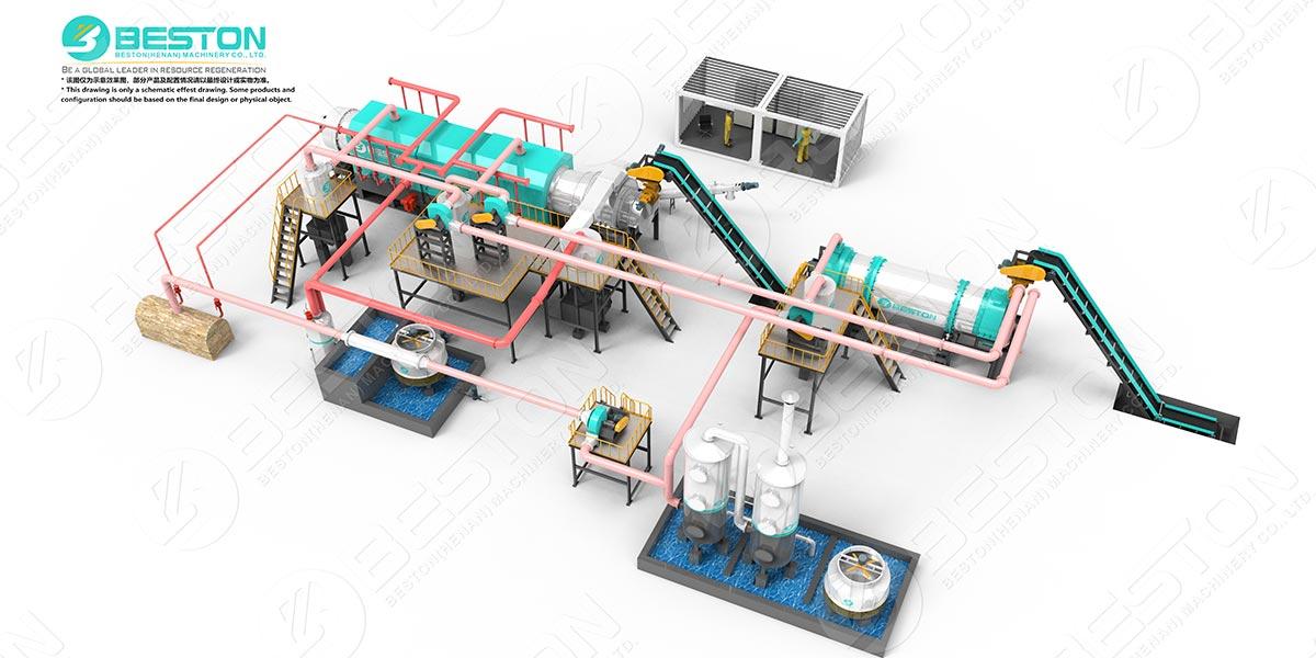 Máquina para fabricar carbón de aserrín