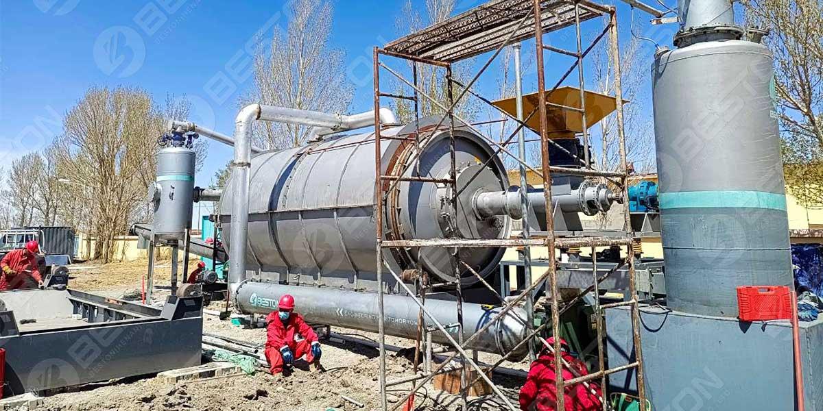 Завод по пиролизу нефтешламов BLJ-16 в Китае