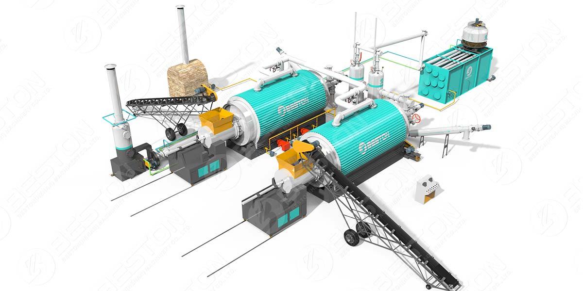 Máquina de pirólisis de nuevo diseño con dos reactores