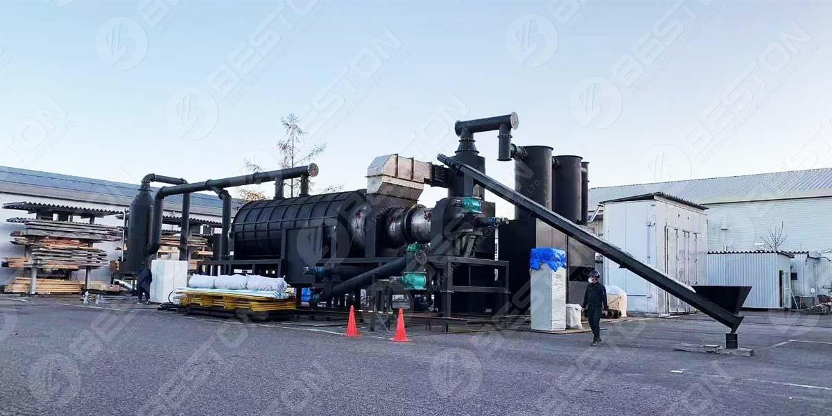 Máquina de fazer carvão Palm Kernel Shell para o Japão